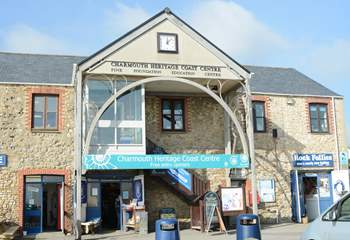 The craft and visitor centre at Charmouth beach.