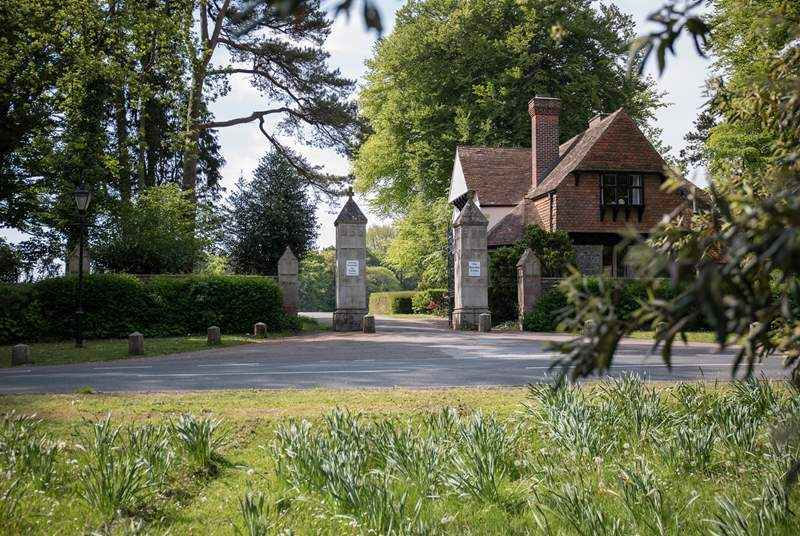Hobnob is on the beautiful Rousdon Estate, these granite pillars are at the entrance, you are nearly at your holiday destination.