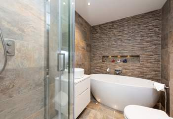 A lovely free-standing bath in the family bathroom.