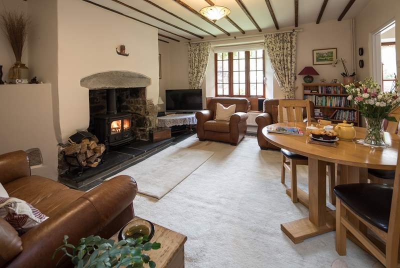 The fabulous wood-burner makes this room super cosy on chillier nights.