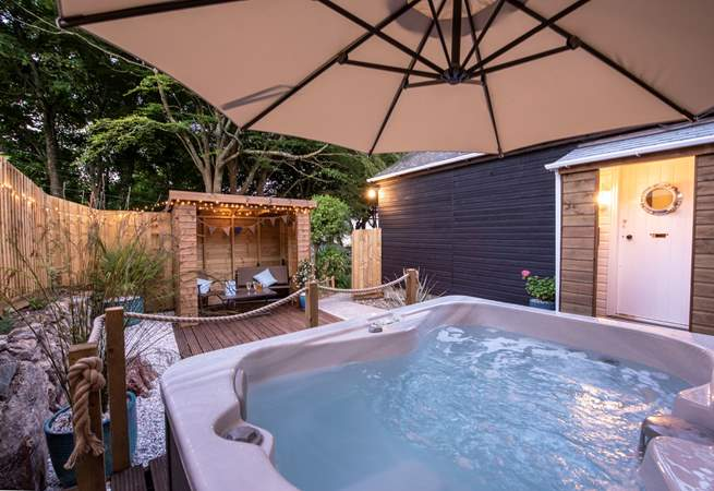 Relax in your own hot tub in a very private space.