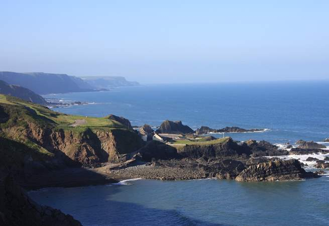 This is the coastal view just over one mile up the lane from the cottage! There is a car park, hotel and seasonal cafe right on the South West Coastal Path.