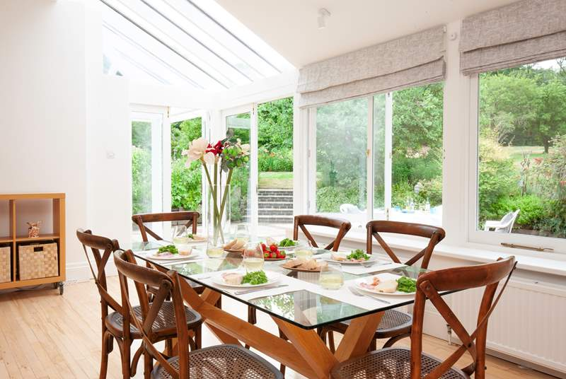 There is a lovely large dining-table to gather around and enjoy mealtimes.
