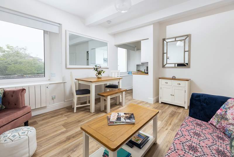 The apartment is open plan, making the most of the space and views of Coverack.