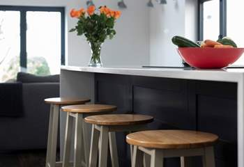 Pull up a pew to have mealtimes at the breakfast-bar or to enjoy a glass of wine whilst you keep the cook entertained.