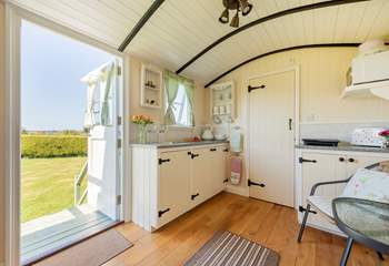 Enjoy the view from inside this spacious hut.
