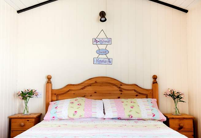 Plenty of room around the pretty bed - a rare glamping luxury even by our standards.