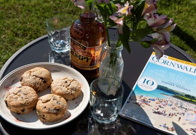 The owners very kindly provide Cornish Scrumpy and hevva buns as a welcome.