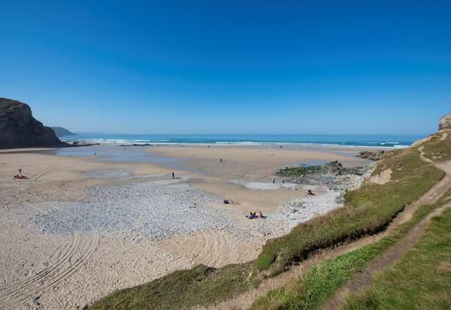 Porthtowan's huge beach at low tide.