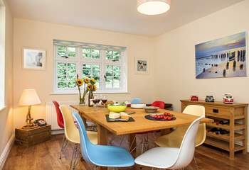 Everyone can enjoy mealtimes together gathered in the dining-room.