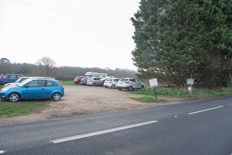 There is parking for one car in this private car park and an additional two spaces, in tandem in the layby just a little further along this road.