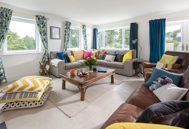 The sitting-room is filled with colour.