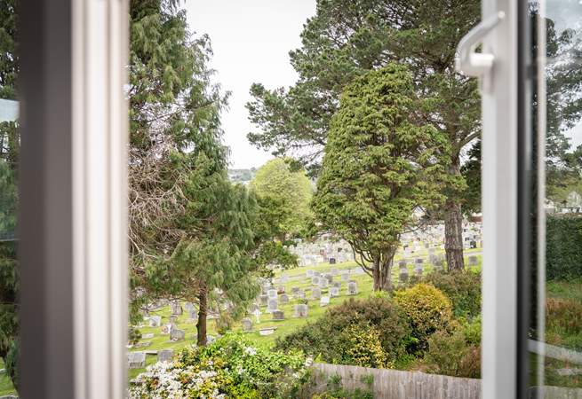 The quiet view over the churchyard.