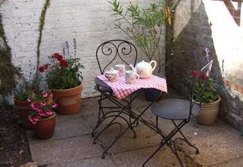 The courtyard is a lovely spot for a morning coffee.