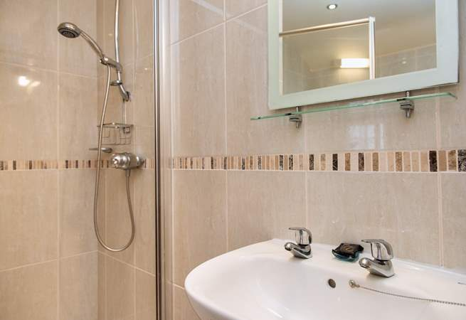The bathroom also has a fitted shower.