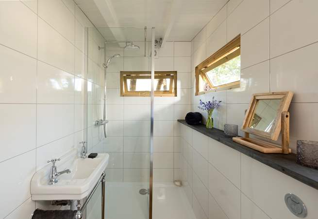 As well as a large walk-in shower cubicle, WC and wash-basin.