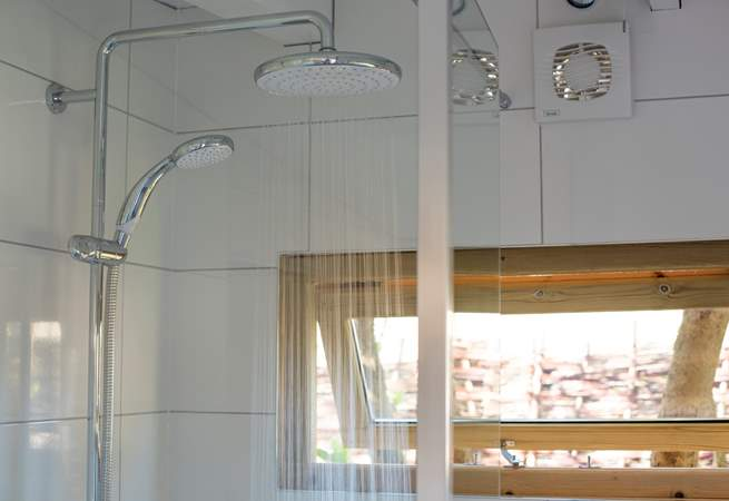 Even the shower-room features these lovely windows, making the most of the natural light.