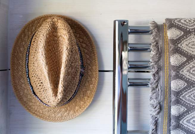 There's a heated towel rail - perfect for drying those beach towels after a swim in the sea.