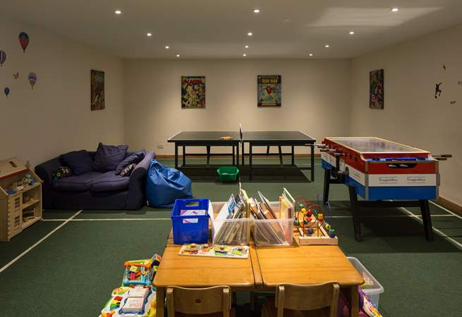 The communal games-room for the younger members of the group is a godsend on a rainy day.