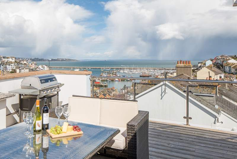 What a fabulous view over Brixham harbour from your rooftop terrace!