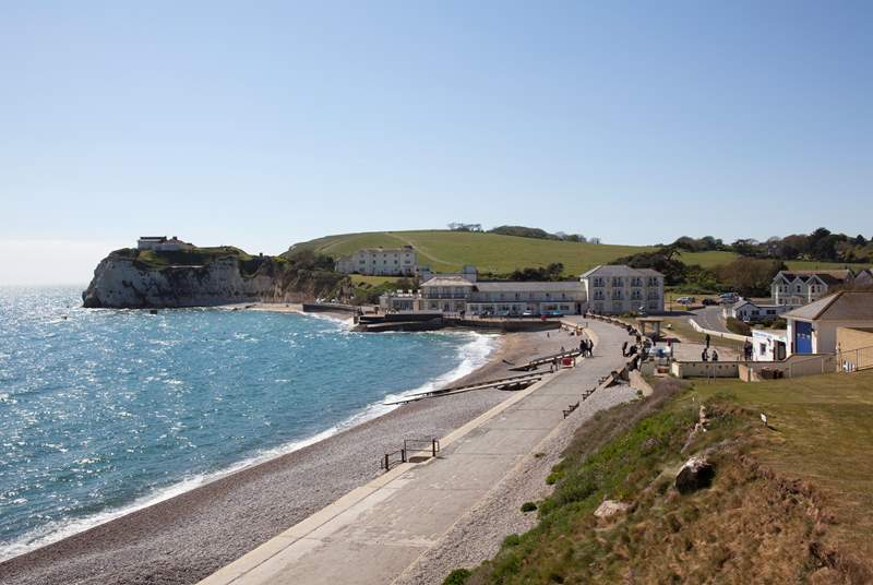Freshwater Bay is stunning with its clear waters, a place where smugglers once used the caves that are exposed at low tide.