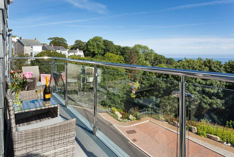 The fabulous balcony has views out to sea.