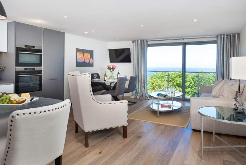 Glas-Mor has a fabulous open plan living space, with super sea views from the balcony.