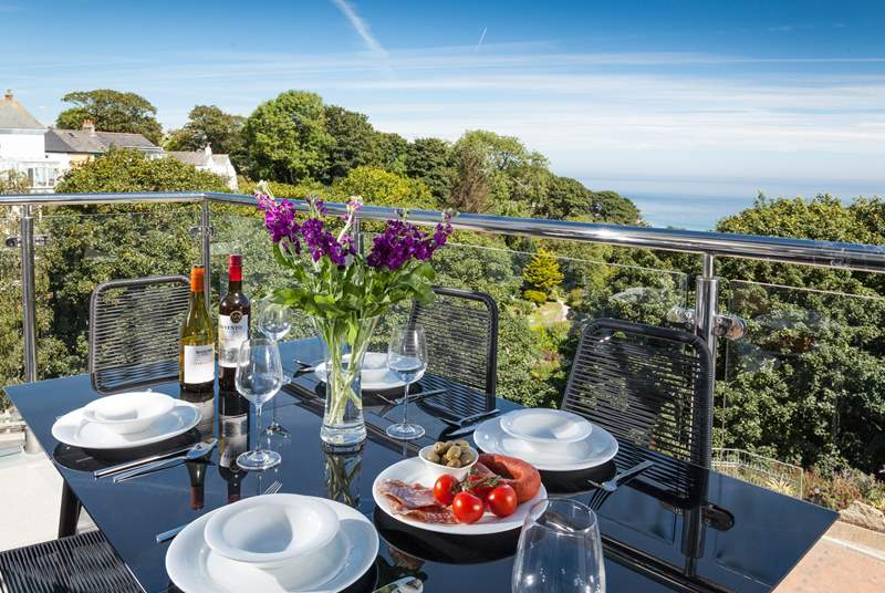 The balcony is the perfect spot for a lovely lunch with a glass of wine too!