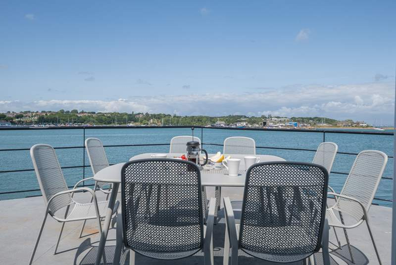 Dine in style overlooking Bembridge harbour.
