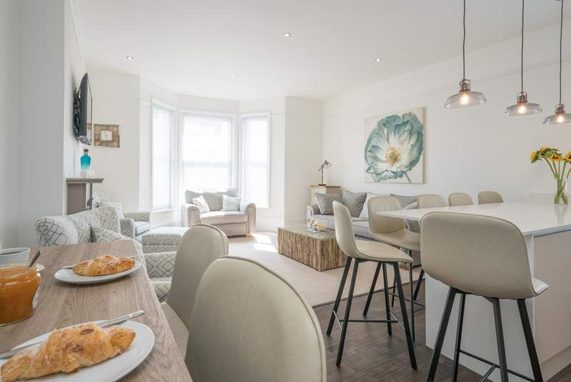 The sun-filled living space is perfect for socialising.