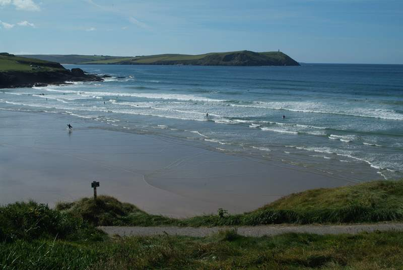 The beach at Polzeath is a surfer's paradise.