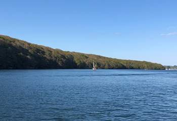 The calm waters are perfect for sailing.