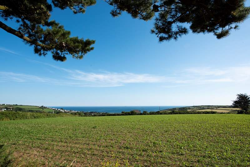 Sea views across the countryside.