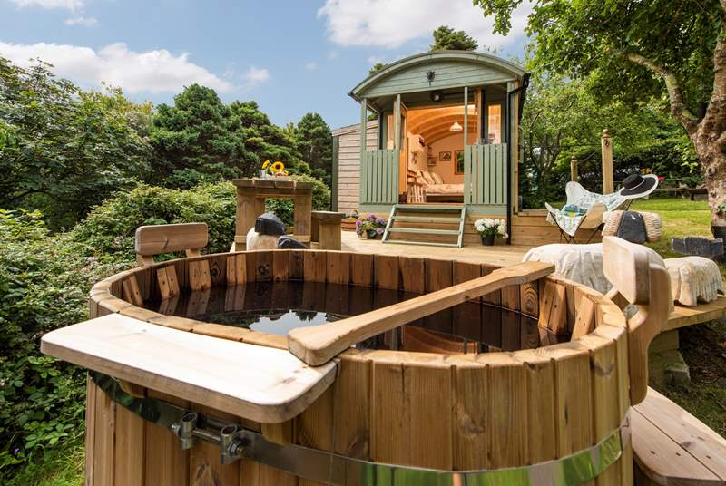 There is a charming wood-fired hot tub - perfect for stargazing from.