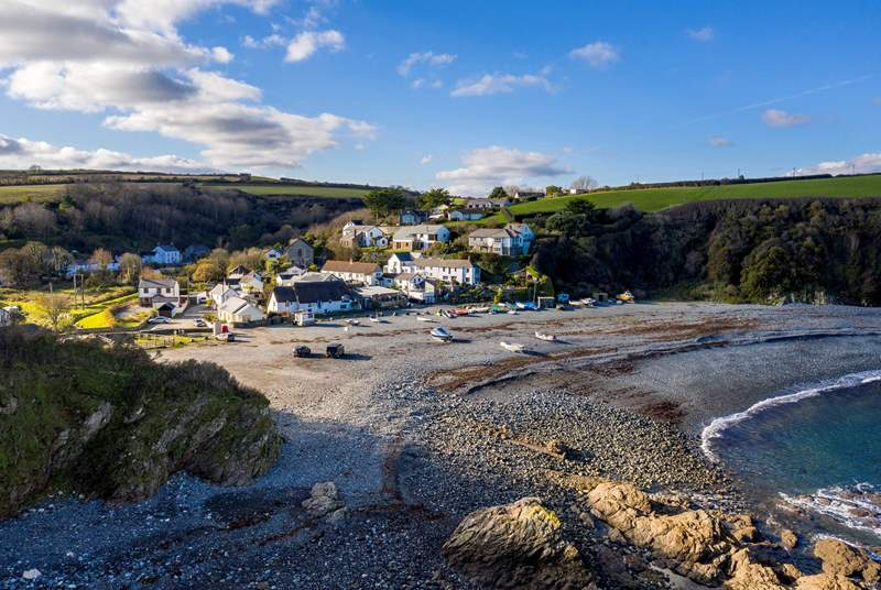 Porthallow is a shingle/ stone beach which is within walking distance from  Bluebell Barn and there is the local pub here - The Five Pilchards.