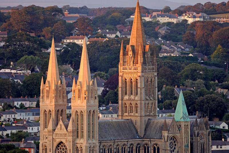 The sun setting on Truro Cathedral.