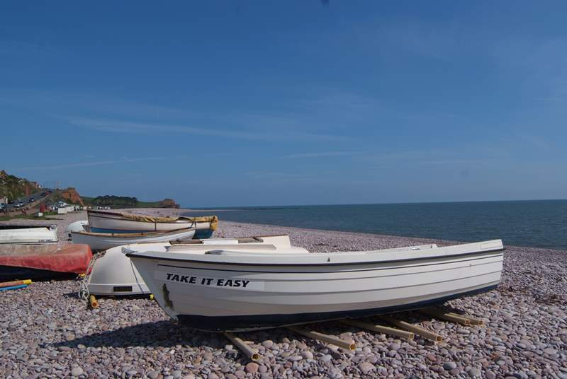 This boat on the pebbled beach at Budleigh Salterton says it all.  East Devon is a very unspoilt area and the countryside is as good as the coast.