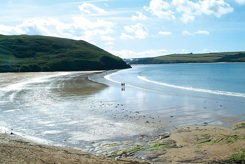 The more gentle waters at Daymer Bay are popular with families with younger children.