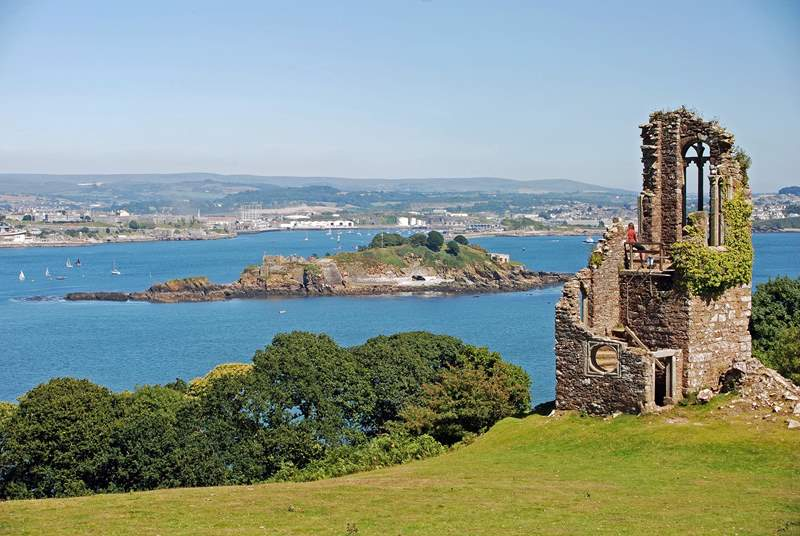 The folly on the Mount Edgcumbe Estate with views across Plymouth Sound to the city of Plymouth.