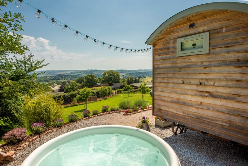 Welcome to Bowhay Shepherd's hut, complete with bubbling hot tub and far-reaching countryside views across the Dart Valley.
