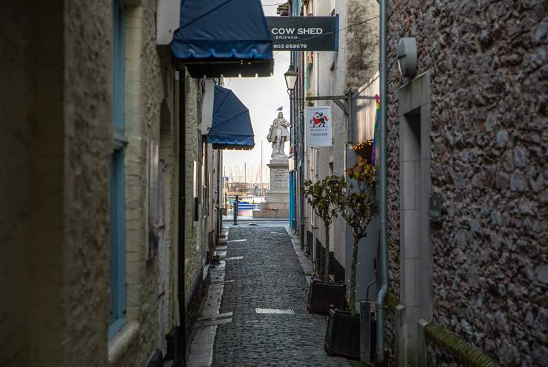 Step out of your front door, amble down this pretty side street littered with fine eateries and you will pop out right on the harbourside.