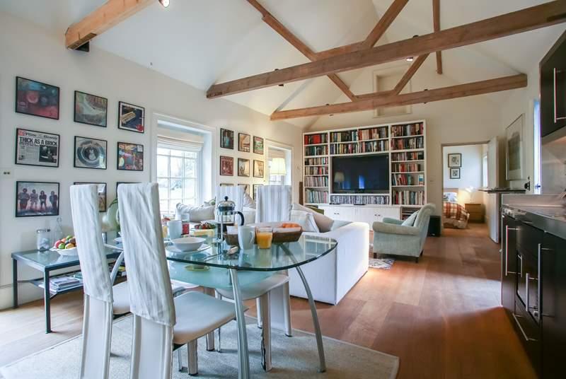 The spacious open plan living area.