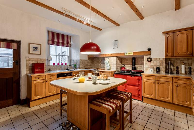 Well-equipped spacious family kitchen.
