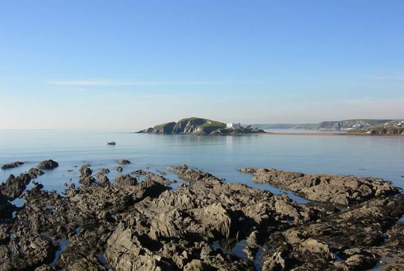Bigbury Bay, looking over to Burgh Island.