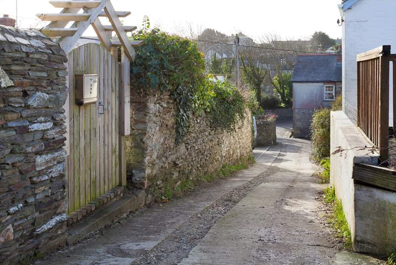 This view is taken from just outside Summer Days at Langurra looking down towards the bottom of the lane. There is street parking in the village along with a car park (near the beach).
