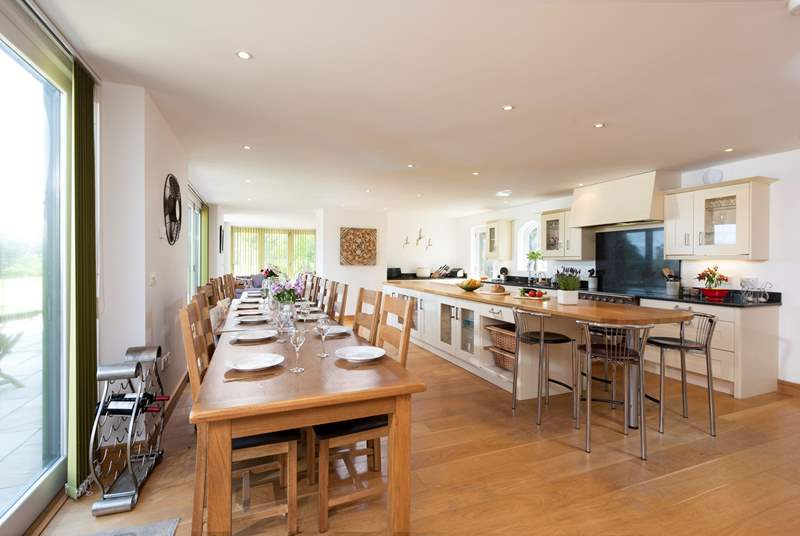 The large eat-in kitchen is perfect for a feast.