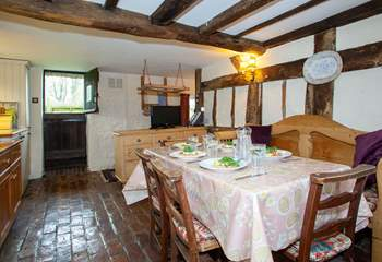 Fully equipped kitchen with a stable-door that leads to the garden.