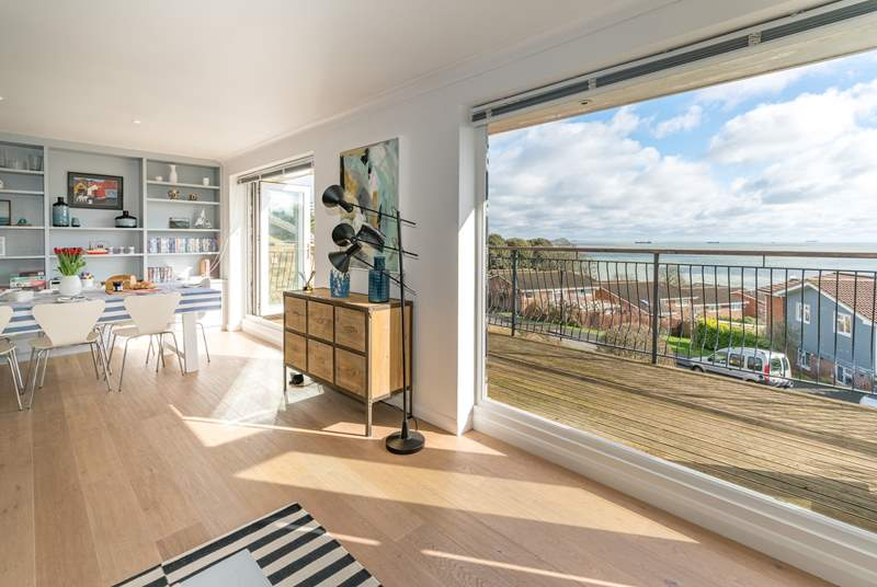 The two b-fold doors on the first floor provide spectacular views across the Solent.