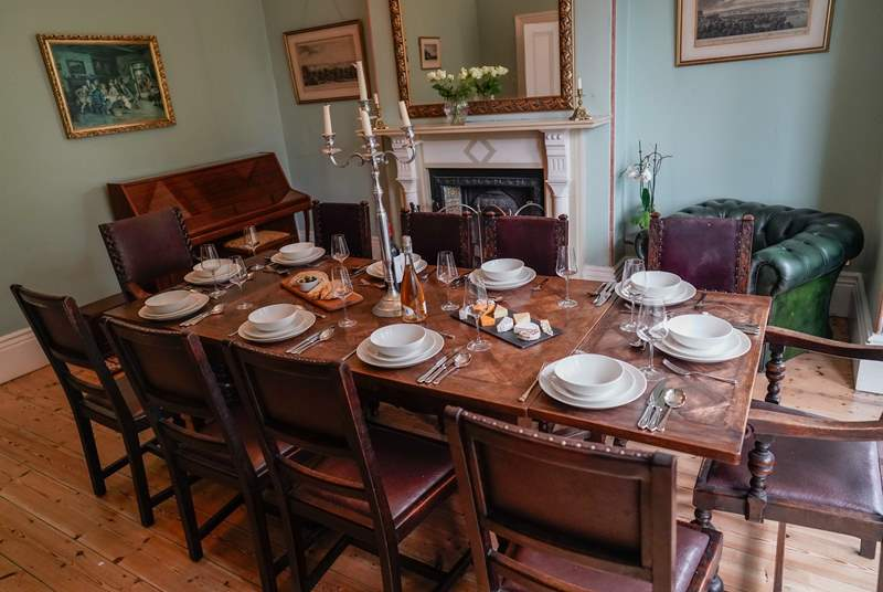 The grand dining-room offers a formal setting for the family to come together. The piano and open fire will make for a wonderful night of song and laughter.