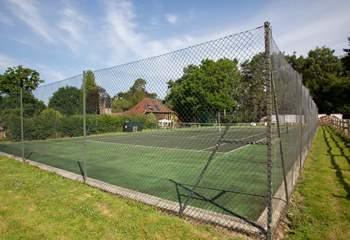 Shared tennis court.